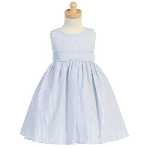 Lito Toddler Girls Light Blue Seersucker Stripe Easter Dress 3T - Summer Seersucker