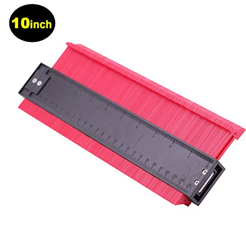 10in Contour Gauge Edge Shaping Measure Ruler Contour Duplicator for Tiling Laminate Woodworking Practical Tool (RED-10IN)