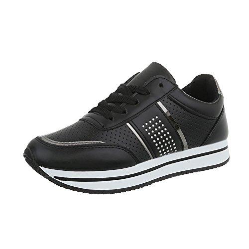 design Sneakers Espadrilles Ital Mode Low Plat Baskets Rl1715 Femme Chaussures Noir aZ68q