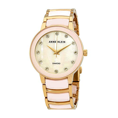 Anne Klein Women's AK/2672LPGB Diamond-Accented Gold-Tone and Blush Pink Ceramic Bracelet ()