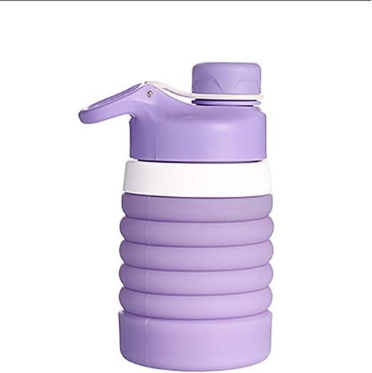 Gimnasio Senderismo Botella de Agua port/átil de Silicona para Deportes a Prueba de Fugas para Exteriores U-A Botella de Agua Plegable 750 ml // 26 oz Botella de Agua Plegable sin BPA para Viajes