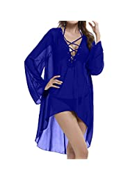 LAPAYA Women's Cover Up Sexy Lace Up V neck Long Sleeve Solid Chiffon Beach Dress