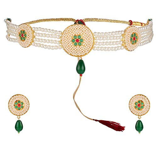 Efulgenz Indian Bollywood 14 K Gold Plated Cubic Zirconia Faux Emerald Pearl Choker Necklace Earring Bridal Jewelry ()