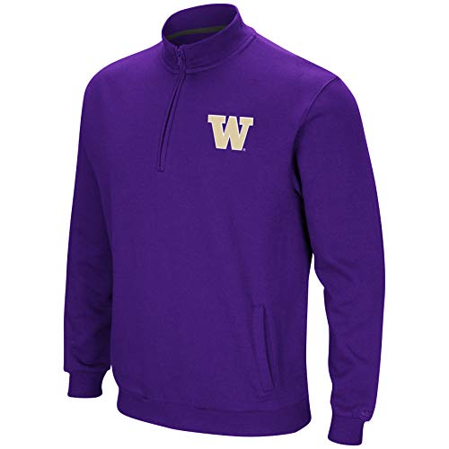 Colosseum NCAA Men's Tailgater Cotton-Poly Fleece 1/4 Zip Pullover-Washington Huskies-Purple-XL