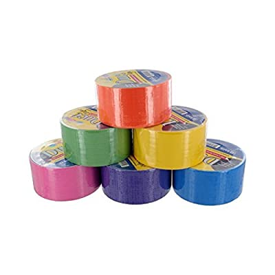 """Bazic 1.88"""" X 10 Yard Fluorescent Colored Duct Tape, Assorted Colors, Pack of 6"""
