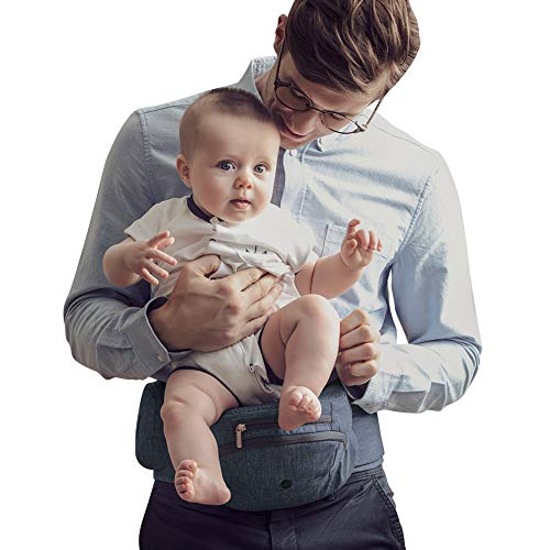 Bebamour Foldable Baby Hip Seat Carrier Ergonomic Toddler Waist Seat (Dark Grey)