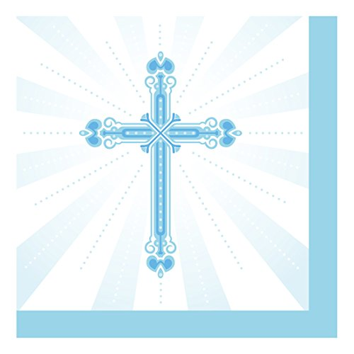 Creative Converting 652223 36 Count Paper Beverage Napkins, Blessings, Blue (Napkins Crosses Religious)