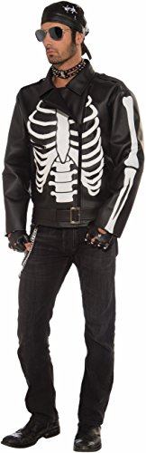 Forum Novelties Men's Skeleton Biker Jacket, Black/White, One (Guys Skeleton Costumes)