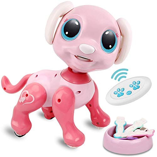 RACPNEL Remote Control Robot Dog Toy, RC Interactive Intelligent Walking Dancing Programmable Robot Puppy with Gesture Sensing, Lights and Sounds for Girls, Gifts for Kids Ages 3 and Up, Pink