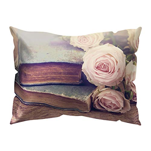 Winsummer Vintage Flower Throw Pillow Covers Decorative Pillow Cases Rectangle 12x20 Inches Cushion Cover Pillowcase (Furniture Donate Patio)