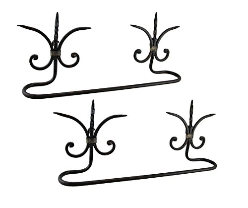 Metal Towel Bars Set Of 2 Metal Fleur De Lis Wall Mounted Towel Holder Bars 19.5 X 8 X 3.5 Inches Black Hanging Rod Fleur De Lis