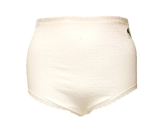 Lady Olga Women's Cotton Lycra Crinkle Full Brief With Tunnel Elastic 12-14 3 Pairs White