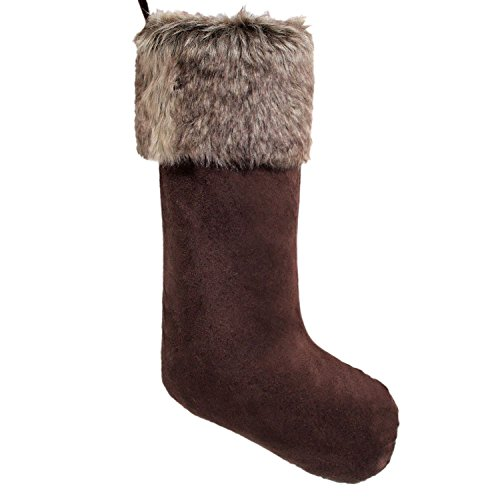- Gireshome Coffee Suede with Faux Fur Cuff Christmas Stocking Xmas Tree Decor Festival Party Ornament 10