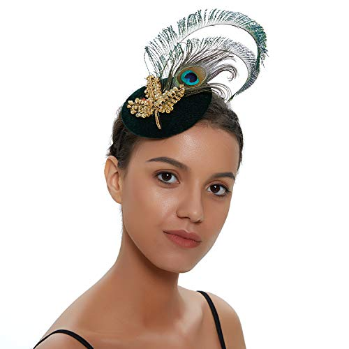 Zivyes 1920s Peacock Headpiece Feather Costume Hair Clip Flapper Headpiece Hat Accessory (I)