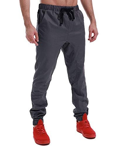 Sportivi Chino Classiche Jeans Da Regolare Ragazzi Uomo Vestibilità Pantaloni Coulisse Cargo Elastica Vita Con Jogging Dunkelgrau2 fd0qxSY