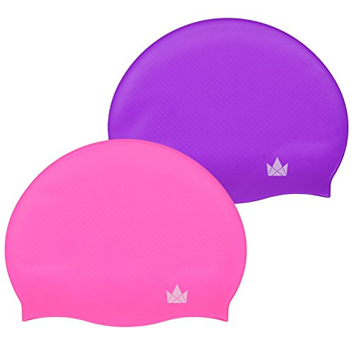 The Friendly Swede Silicone Swim Caps (2 Pack) (Hot Pink + ()