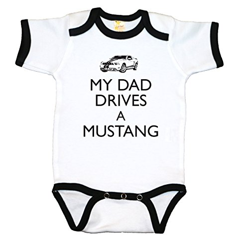 (RoyalT Wardrobe Dad Drives Mustang-White Black Ringer 100% Cotton, 7.5 Knit Baby Bodysuit, Funny Baby Shirts,)