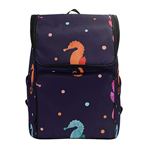 SLHFPX Laptop Backpack Colorful Seahorse Polka Dot Duffle Backpack for Women Big Hiking -