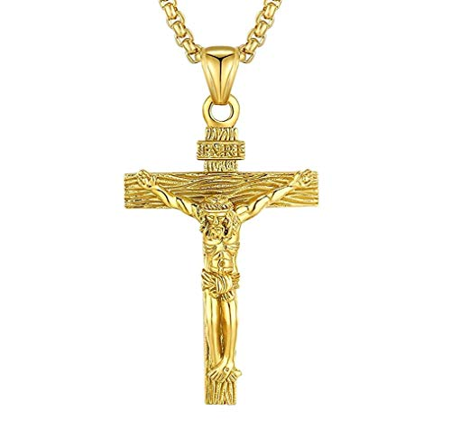 LAOYOU Mens Crucifix Necklace Stainless Steel Jesus Christ Cross Religious Christian Pendant Jewelry for Men Women Catholic San Damiano Papal Pardon Benedict for Boys Girls Dad Son Gold