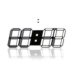 H JSHENLY Modern Fashion Large LED Digital Wall Clock - 15.3 Inches 3D Led Desk Clock/Alarm Clock (Black)