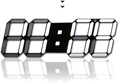 H JSHENLY Modern Fashion Large LED Digital Wall Clock – 15.3 Inches 3D Led Desk Clock Alarm Clock Black