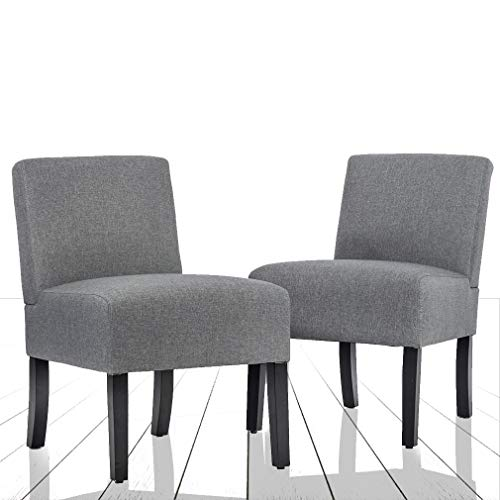 Set of 2 Modern Design Fabric Armless Accent Dining Chairs w/Solid Wood Leg Bestmassage Review