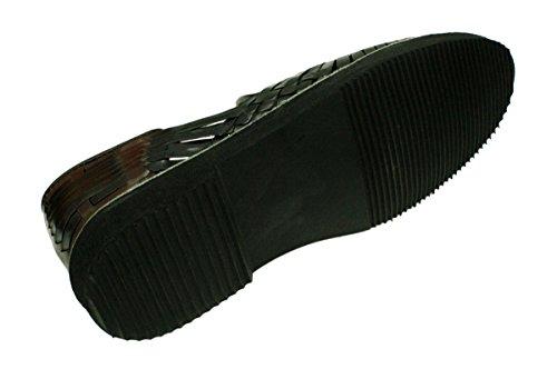 Hommes Authentique Authentique En Cuir Fermé Orteils Mexicains Huarches Sandale Noir-brun