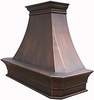 Copper Best H20 482130S Custom Range Hood Cover with Commercial Grade Stainless Steel Vent, Inlcudes Fan Motor, Light, Blower House and Baffle Filter, Elegant Design Wall Mount 48in x 30in