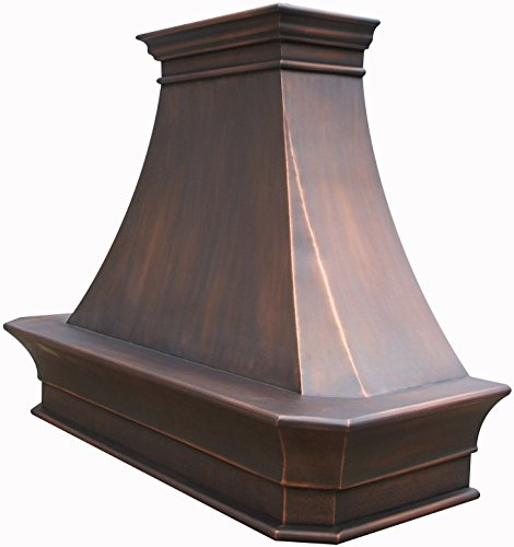 Copper Best H20 482130S Custom Range Hood Cover with Commercial Grade Stainless Steel Vent, Inlcudes Fan Motor, Light, Blower House and Baffle Filter, Elegant Design Wall Mount 48in x 30in ()