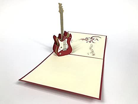 Guitarra 3d Pop Up Tarjetas de felicitación aniversario cumpleaños bebé Pascua Halloween Día Del Padre De La Madre Nueva casa año nuevo día de Acción de ...