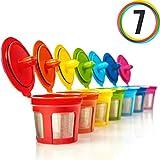 GoodCups 7 Reusable Rainbow Colors K Cups Refillable KCups Coffee Filters for Keurig 2.0, K200, K250, K300, K350, K400, K450, K460, K500, K550, K560 and 1.0 Brewers
