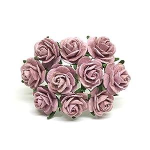 2cm Mauve Paper Flowers Paper Rose Artificial Flowers Fake Flowers Artificial Roses Paper Craft Flowers Paper Rose Flower Mulberry Paper Flowers, 25 Pieces 43