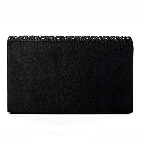 PROKTH Wedding Party Clutch studded Wedding Satin Evening Nero Bag Rhinestone Bag Women's Envelope Handbag rH8zqwr