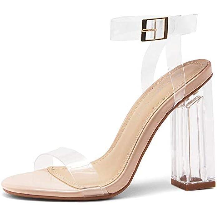 Shoe Land SL-CLLAARY Women's Perspex Heel Ankle Strap Adjustable Buckle Lucite Clear Block Chunky High Heel Open Toe Sandal