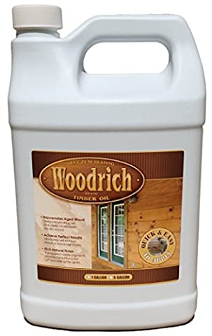 Timber Oil Deep Penetrating Stain for Wood Decks, Wood Fences, Wood Siding, and Log Cabins - 1 Gallon Amaretto - Woodrich Brand - Covers up to 150 Square Feet - 100% Guaranteed - Easy to - Low Voc Polyurethane