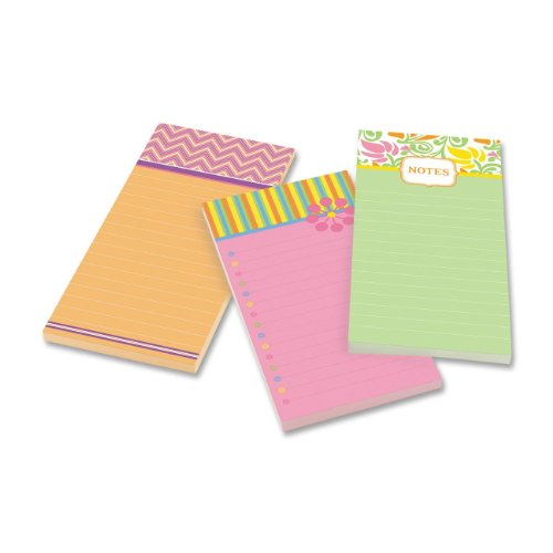 Post-it Super Sticky Notes, 4 x 8-Inches, Assorted Printed Designs, 3-Pads/Pack