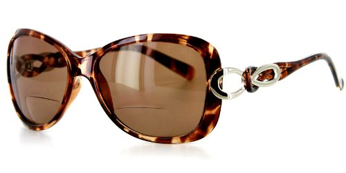 Sao Paulo Fashion Bifocal Sunglasses with Large Lenses and Optical Frames - 55mm x 12mm x 124mm (Tort -