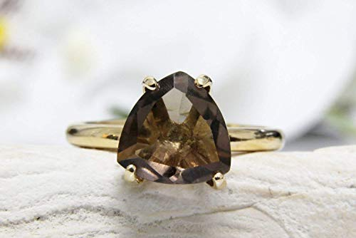 gold smoky ring,smoky topaz ring,brown quartz ring,gold stack ring,gemstone ring,semiprecious ring