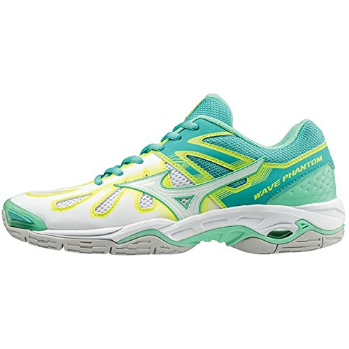 Mizuno Wave Phantom Netball Shoes - SS17 - Turquoise/White/Safety Yellow -  UK