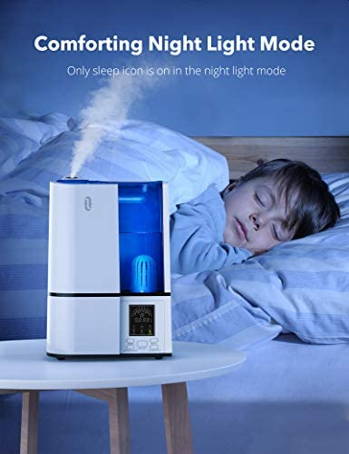 41bAAlXpeLL. AC - TaoTronics Humidifiers, 4L Cool Mist Ultrasonic Humidifier For Bedroom Home Large Room Baby Room, Quiet Operation, LED Display With Humidistat, Waterless Auto Shut-off (1.06 Gallon, US 110V)