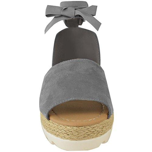 Moda Donna Assetata Sandalo Piatto Sandali Espadrillas Estate Grandi Scarpe Da Vacanza Taglia Grigie Finte Pelle Scamosciata