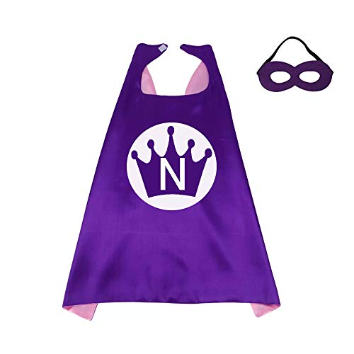 RANAVY Superhero Capes for Kid Family Birthday Parties 26 Letters 10 Numbers Initial Boys/Girls Purple/Pink -