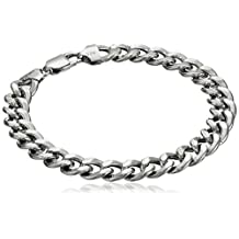 Men's Italian Sterling Silver Rhodium Plated Curb Link Bracelet, 8.5""