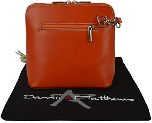 Storage Hand Made Leather Bag Italian Handbag Orange Small Branded Cross Includes Shoulder Protective Body a g47wq