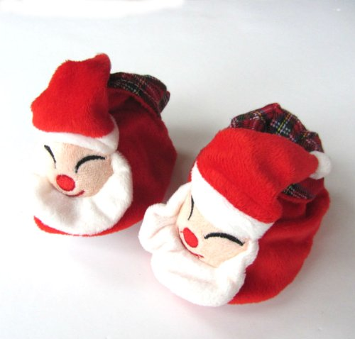 One Pair Fun Red Velour Baby Bootee Slippers With Santa Face Design In An Organza Gift Bag Size 0-6 Months Chew2you