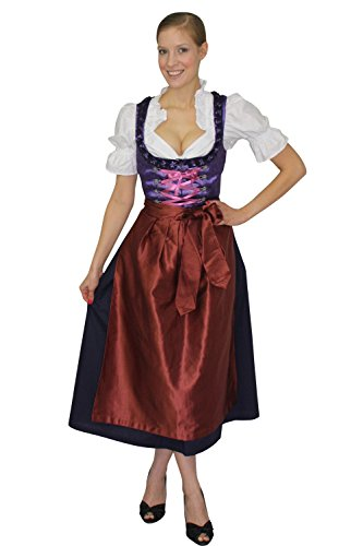 Bavarian Women's Midi Dirndl dress 3-pcs with apron + blouse purple red size 38 (US8)