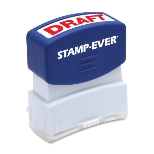 Stamp-Ever Pre-Inked Message Stamp, Draft, Stamp Impression Size: 9/16 x 1-11/16 Inches, Red (5947)