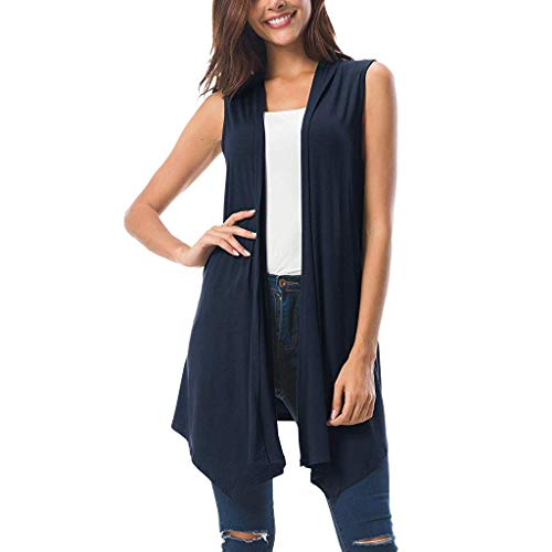 Lovor Women's Sleeveless Draped Open Front Cardigan Vest Asymmetric Hem Cami Tank Tops Solid Coat Tunic Blouse(Navy,L) ()