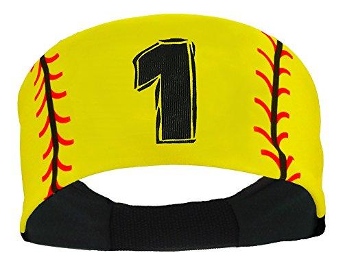 Player ID Softball Stitch Headband (Yellow, #1)