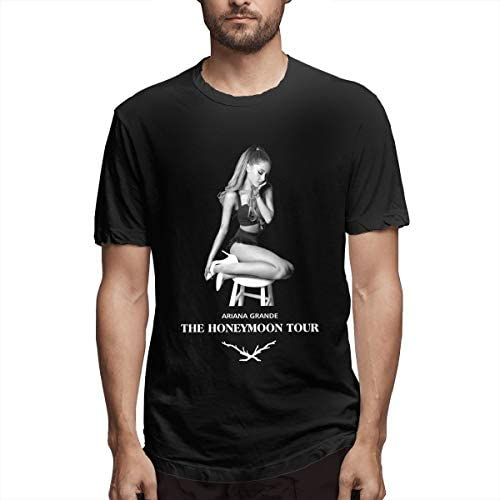 Ariana Grande Honeymoon Tシャツ 半袖 年寄る ブラック お出かけ 丸首 春夏秋 S~6XL 速乾性 格好いい Man